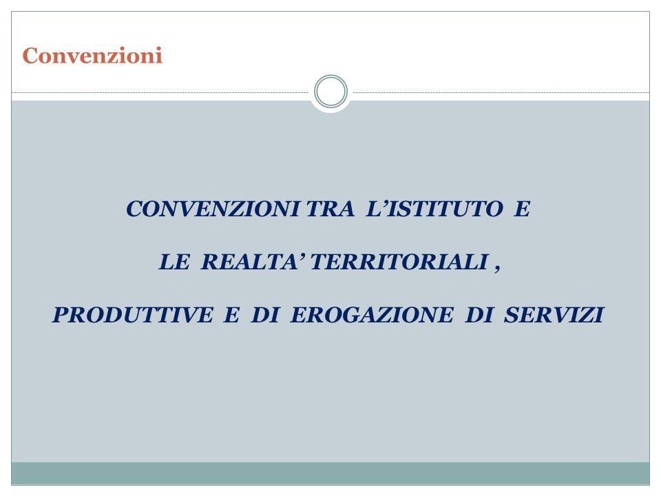 CONVENZIONI TRA L'ISTITUTO E LE REALTA' TERRITORIALI ,