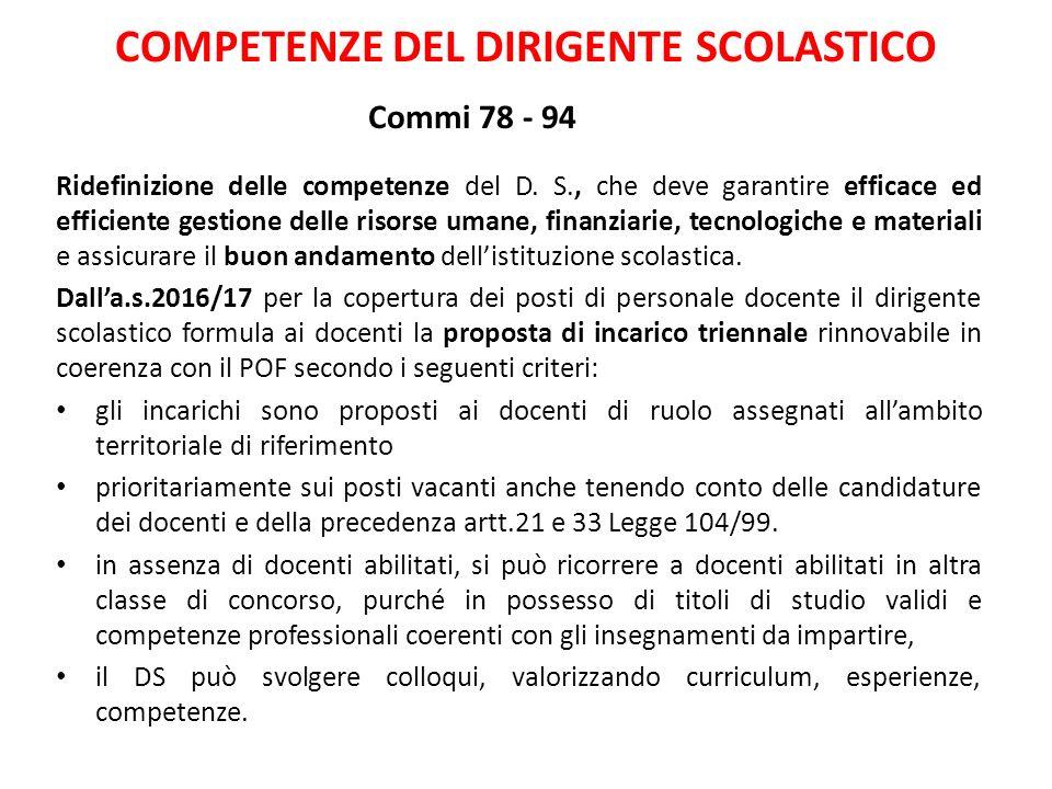 COMPETENZE DEL DIRIGENTE SCOLASTICO Commi 78 - 94