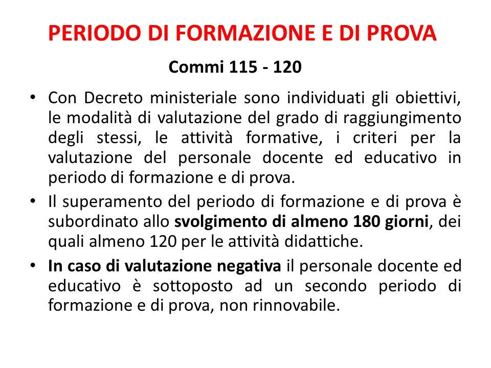 PERIODO DI FORMAZIONE E DI PROVA Commi 115 - 120