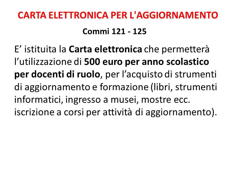 CARTA ELETTRONICA PER L AGGIORNAMENTO Commi 121 - 125