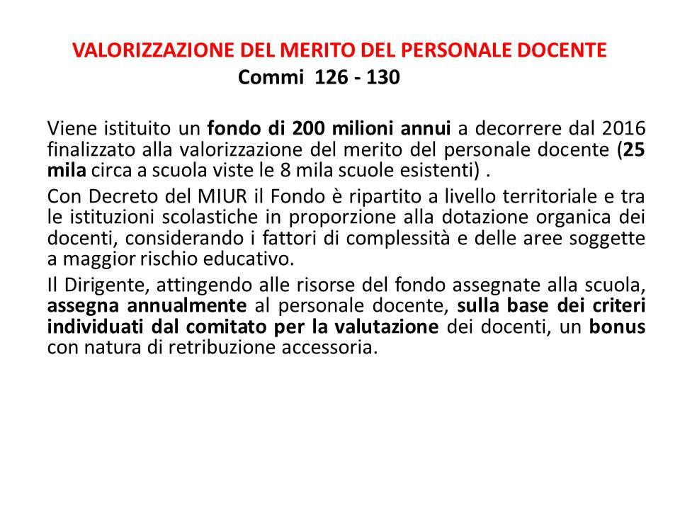 VALORIZZAZIONE DEL MERITO DEL PERSONALE DOCENTE Commi 126 - 130