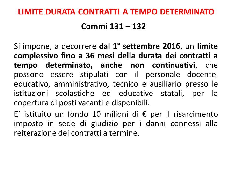 LIMITE DURATA CONTRATTI A TEMPO DETERMINATO Commi 131 – 132