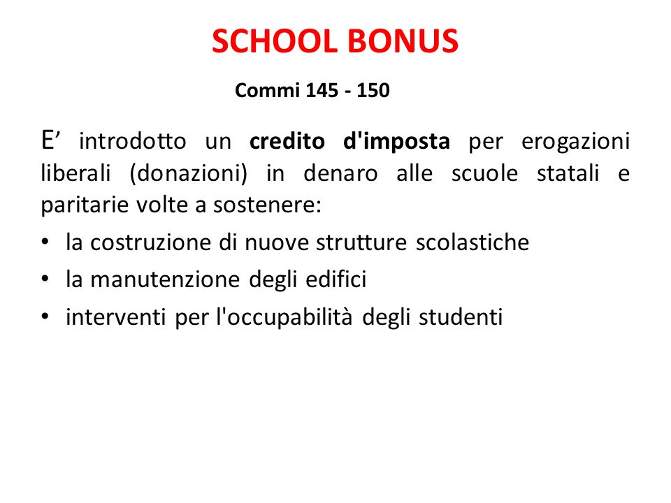 SCHOOL BONUS Commi 145 - 150