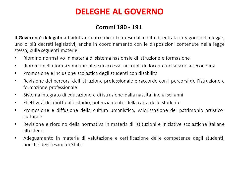 DELEGHE AL GOVERNO Commi 180 - 191