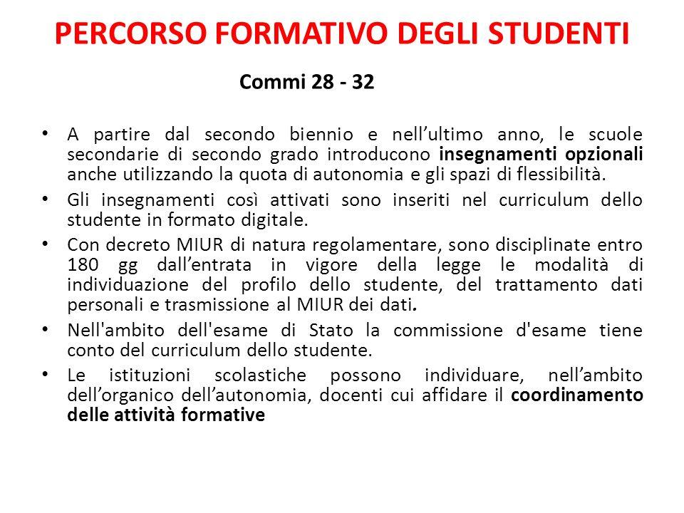 PERCORSO FORMATIVO DEGLI STUDENTI Commi 28 - 32