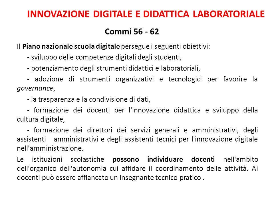 INNOVAZIONE DIGITALE E DIDATTICA LABORATORIALE Commi 56 - 62
