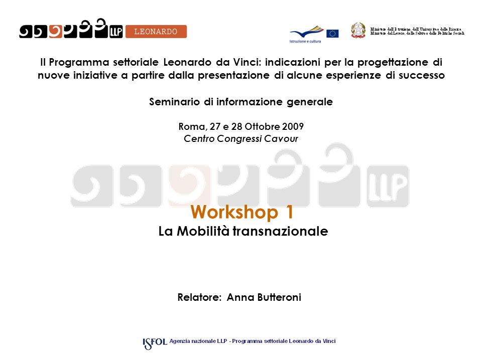 Workshop 1 La Mobilità transnazionale