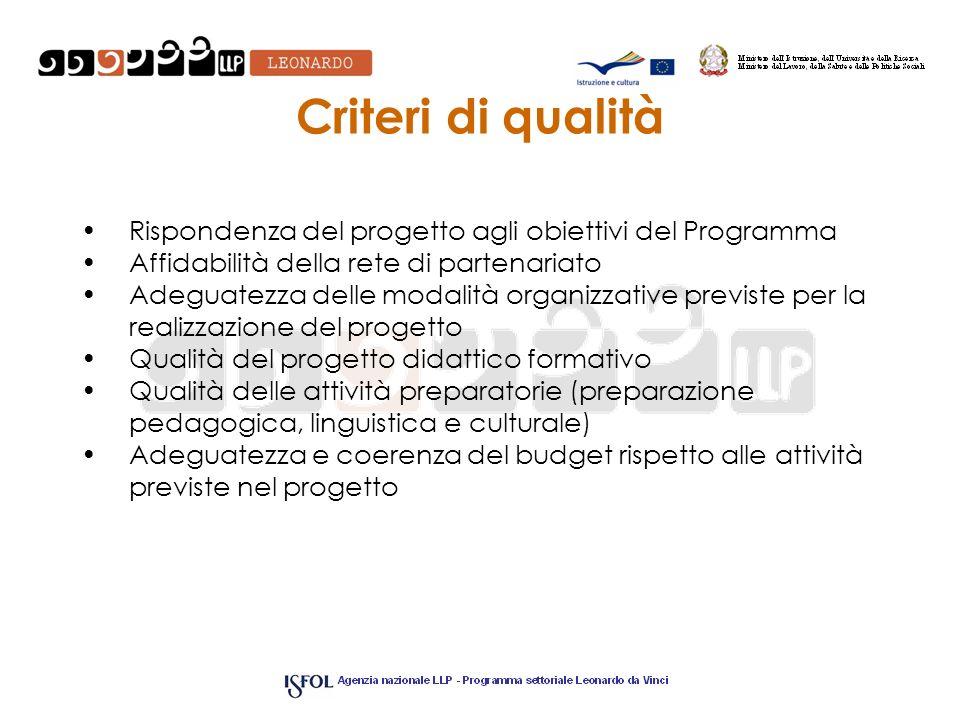 Criteri di qualitàRispondenza del progetto agli obiettivi del Programma. Affidabilità della rete di partenariato.