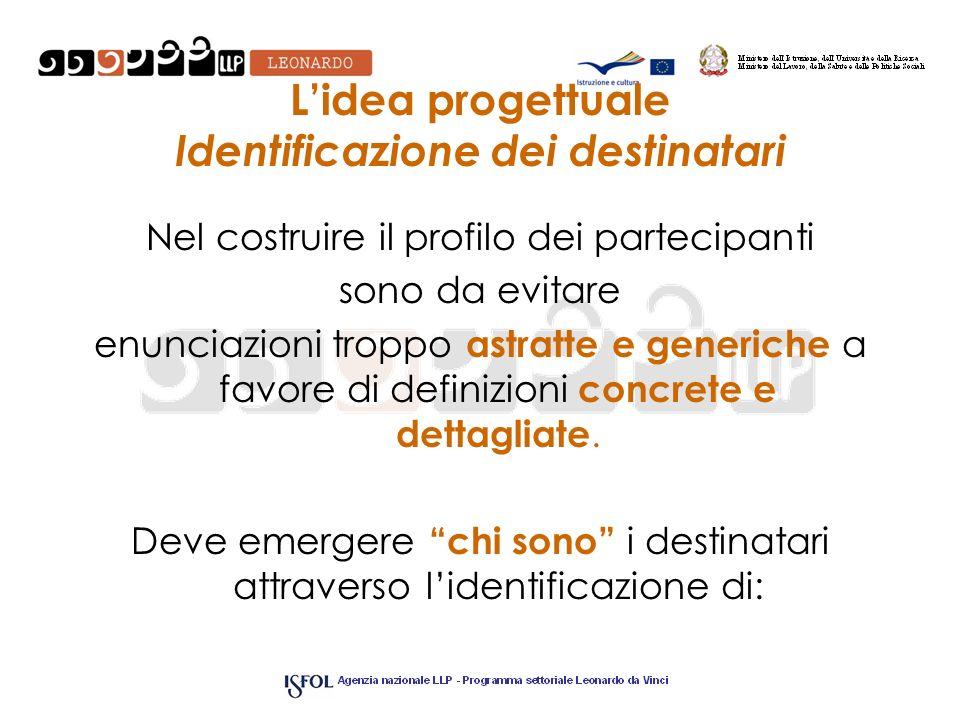 L'idea progettuale Identificazione dei destinatari