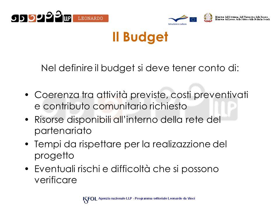 Nel definire il budget si deve tener conto di: