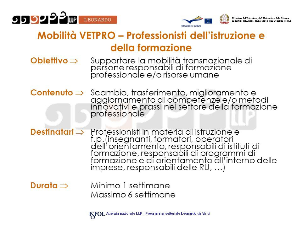 Mobilità VETPRO – Professionisti dell'istruzione e della formazione