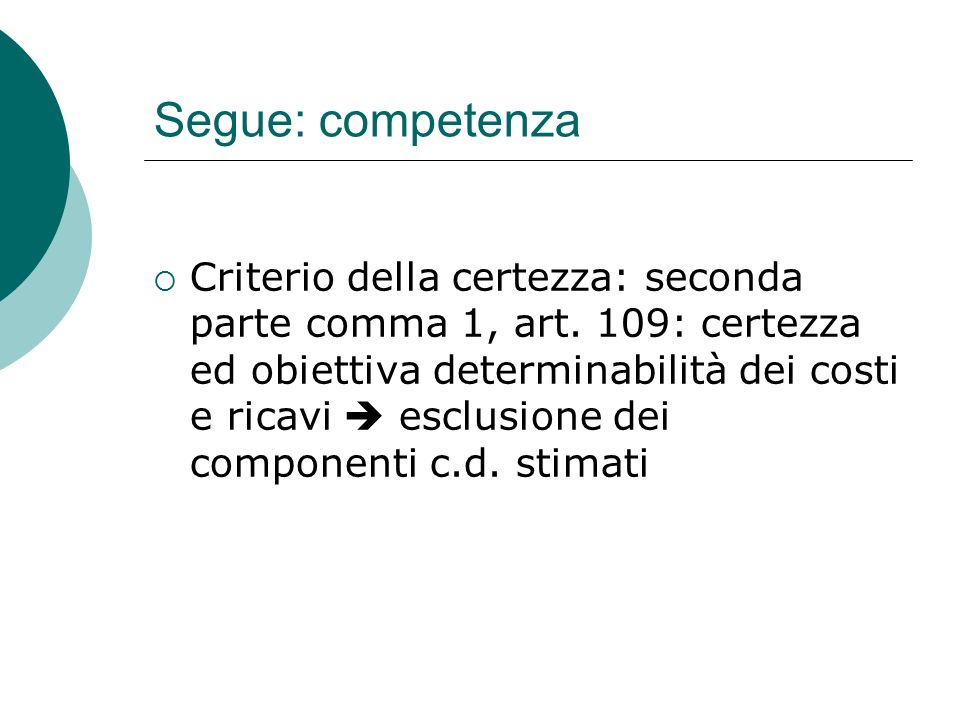 Segue: competenza