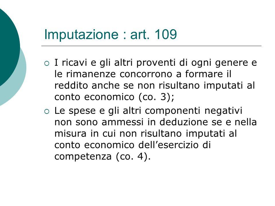 Imputazione : art. 109