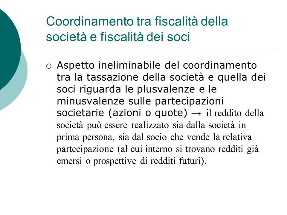 Coordinamento tra fiscalità della società e fiscalità dei soci