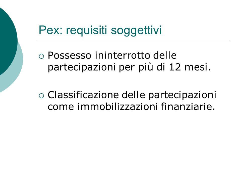 Pex: requisiti soggettivi