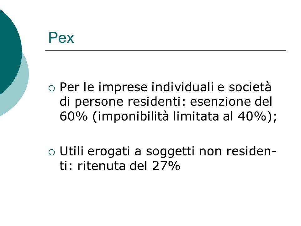 Pex Per le imprese individuali e società di persone residenti: esenzione del 60% (imponibilità limitata al 40%);