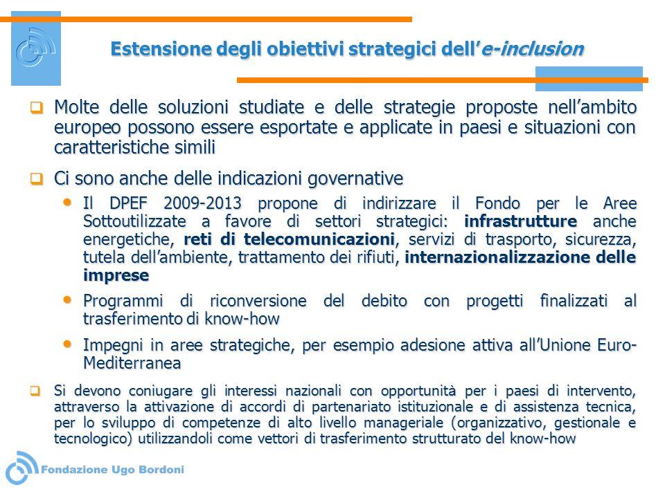 Estensione degli obiettivi strategici dell'e-inclusion