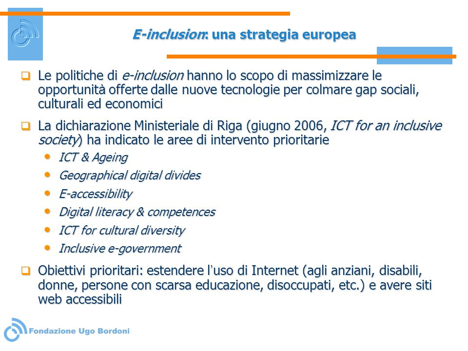 E-inclusion: una strategia europea