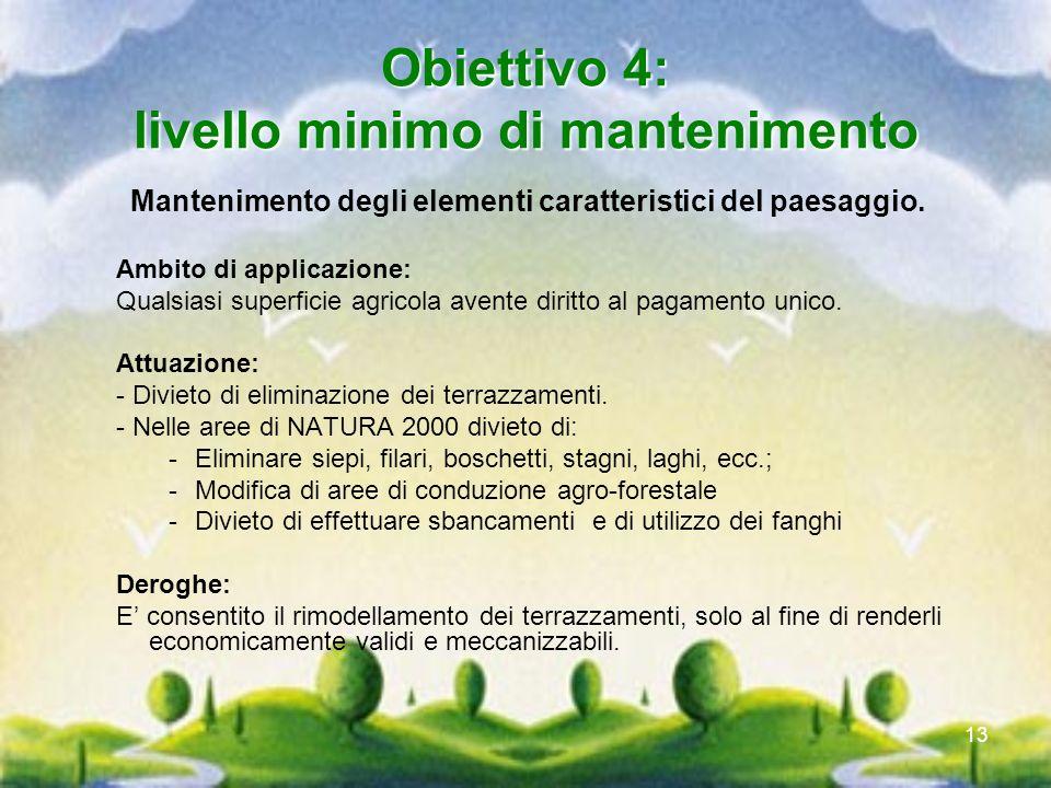 Obiettivo 4: livello minimo di mantenimento