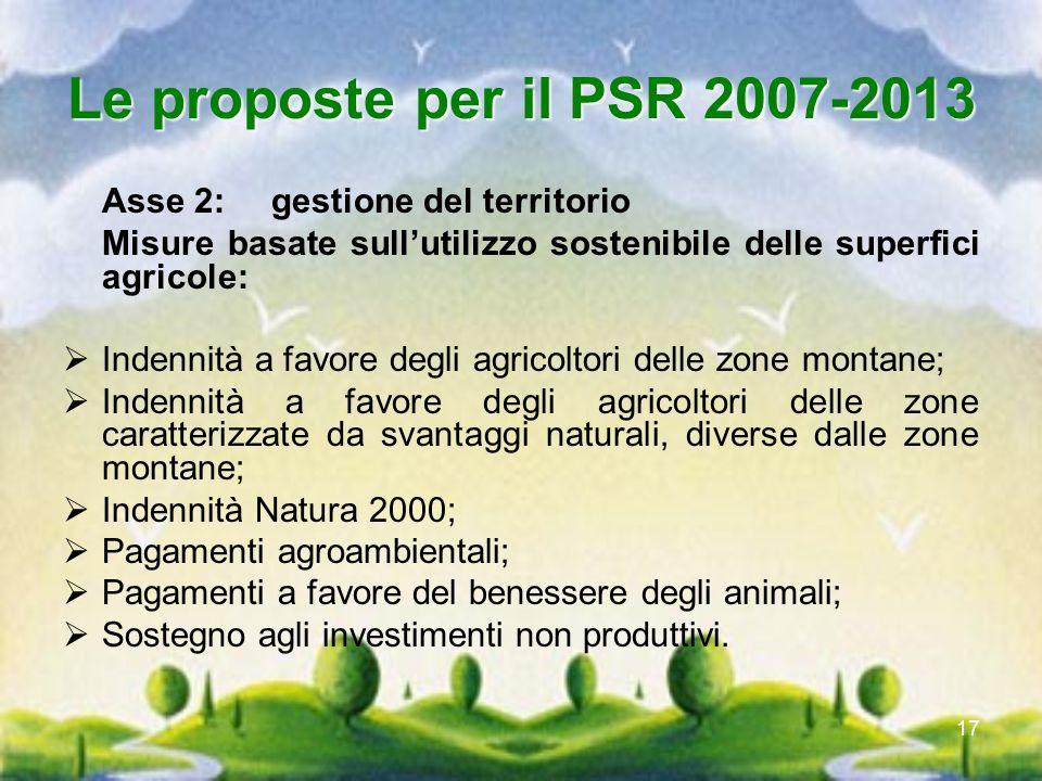 Le proposte per il PSR 2007-2013 Asse 2: gestione del territorio