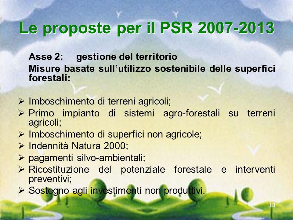 Le proposte per il PSR 2007-2013Asse 2: gestione del territorio. Misure basate sull'utilizzo sostenibile delle superfici forestali: