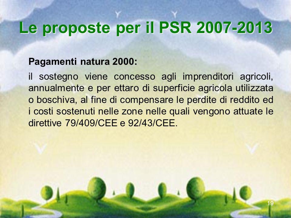 Le proposte per il PSR 2007-2013 Pagamenti natura 2000: