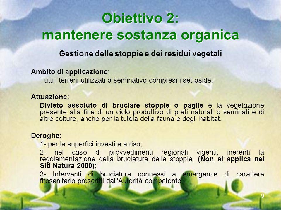 Obiettivo 2: mantenere sostanza organica