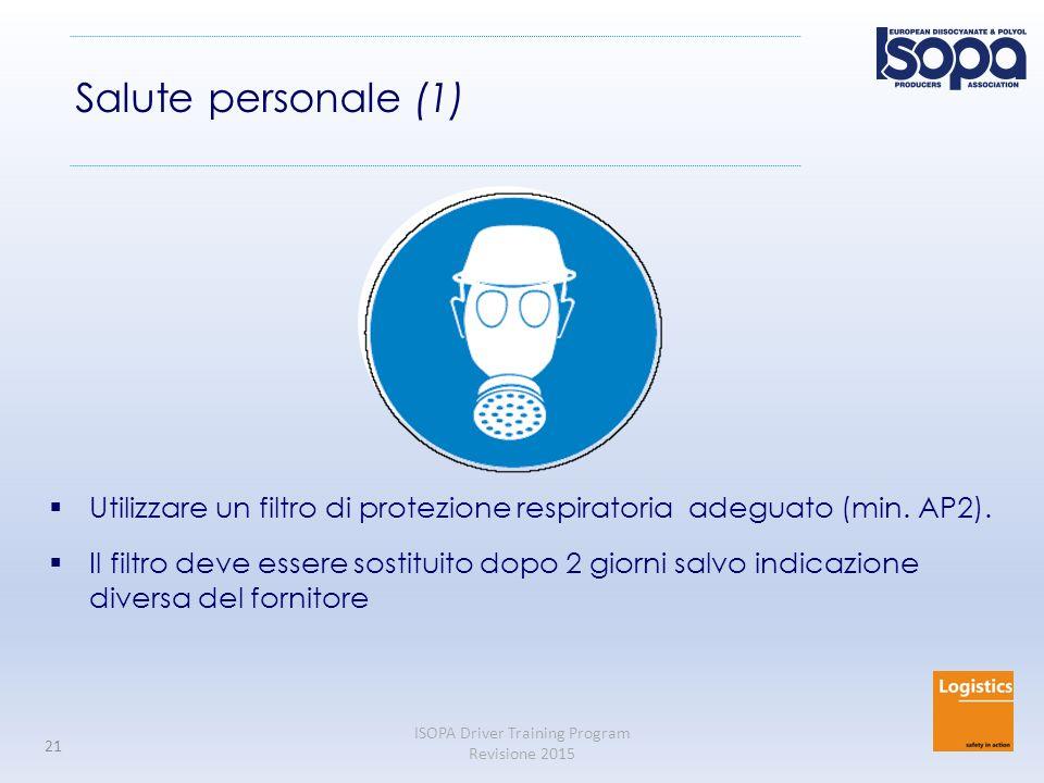 Salute personale (1) Utilizzare un filtro di protezione respiratoria adeguato (min. AP2).