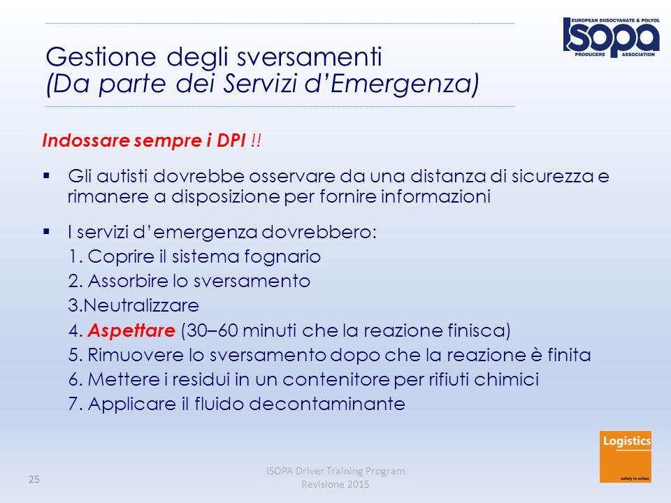 Gestione degli sversamenti (Da parte dei Servizi d'Emergenza)