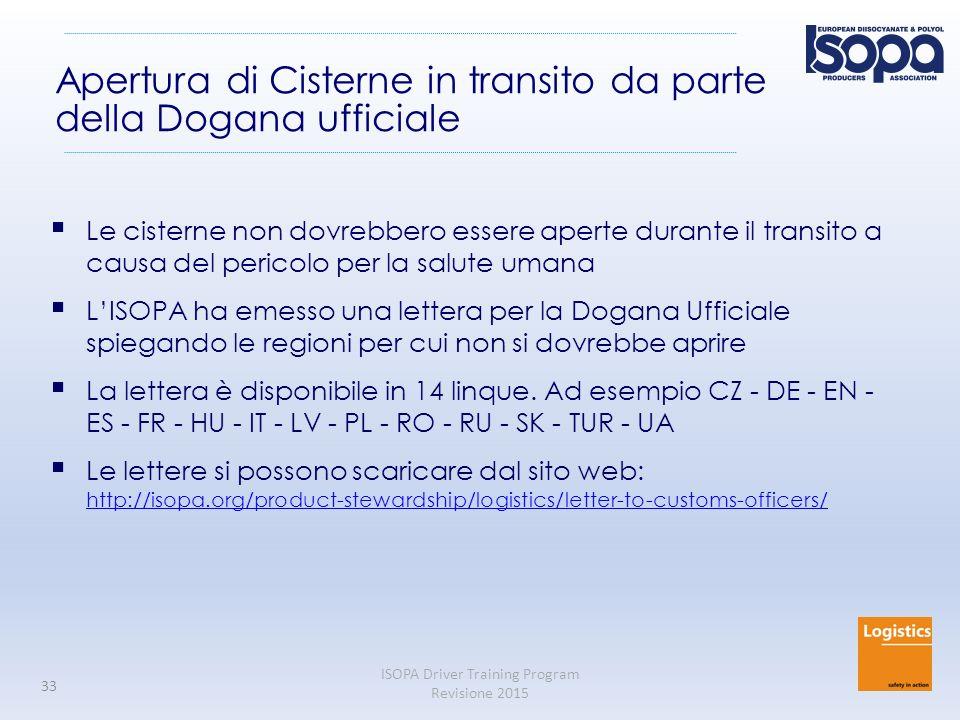 Apertura di Cisterne in transito da parte della Dogana ufficiale