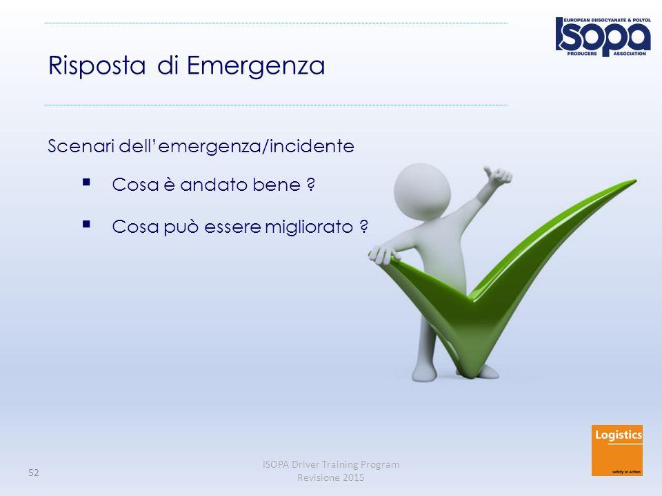 Risposta di Emergenza Scenari dell'emergenza/incidente