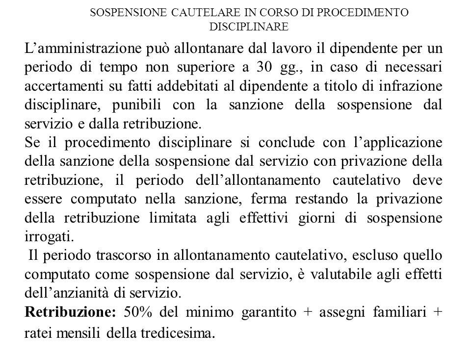 SOSPENSIONE CAUTELARE IN CORSO DI PROCEDIMENTO DISCIPLINARE