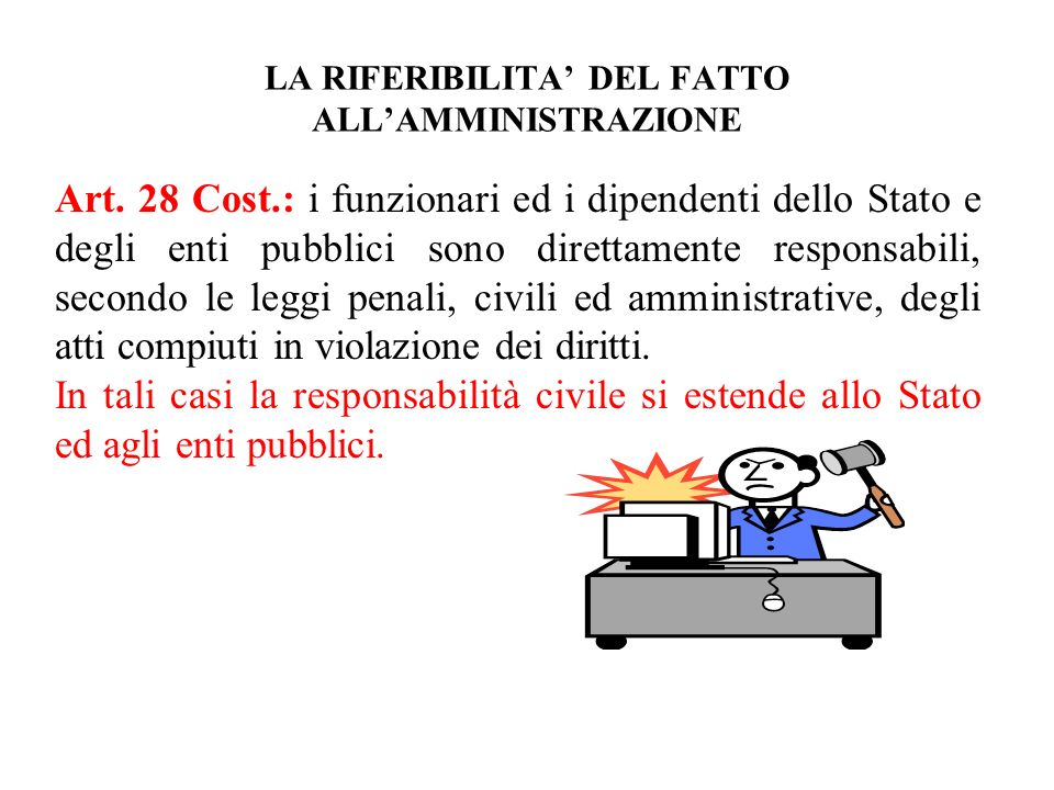 LA RIFERIBILITA' DEL FATTO ALL'AMMINISTRAZIONE