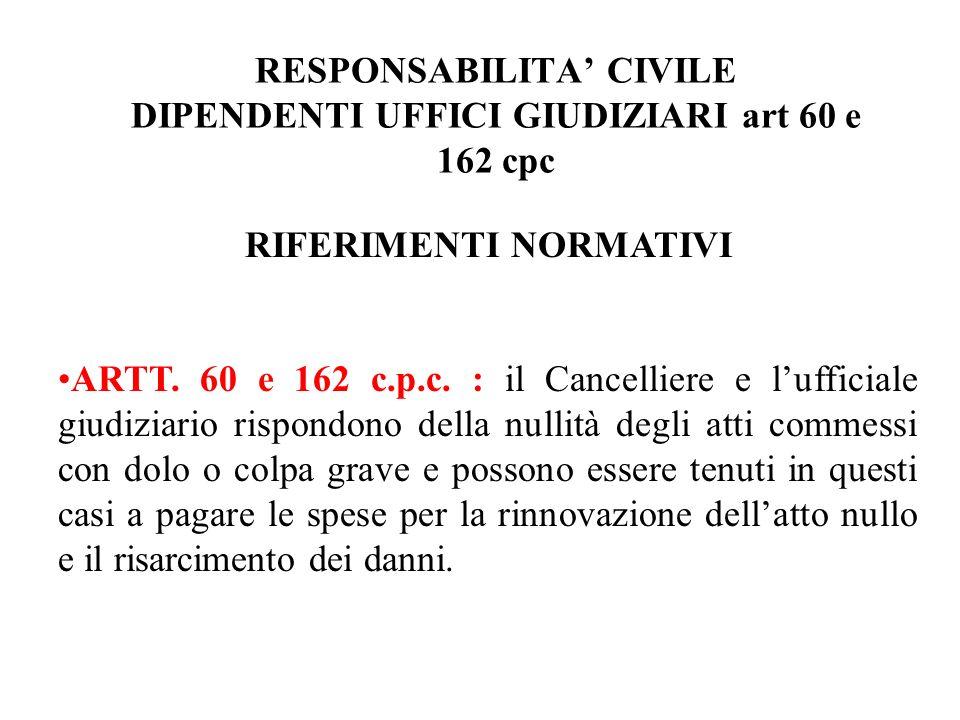RESPONSABILITA' CIVILE DIPENDENTI UFFICI GIUDIZIARI art 60 e 162 cpc