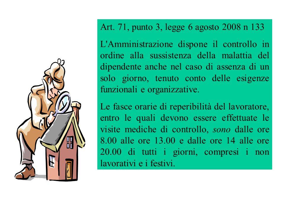 Art. 71, punto 3, legge 6 agosto 2008 n 133