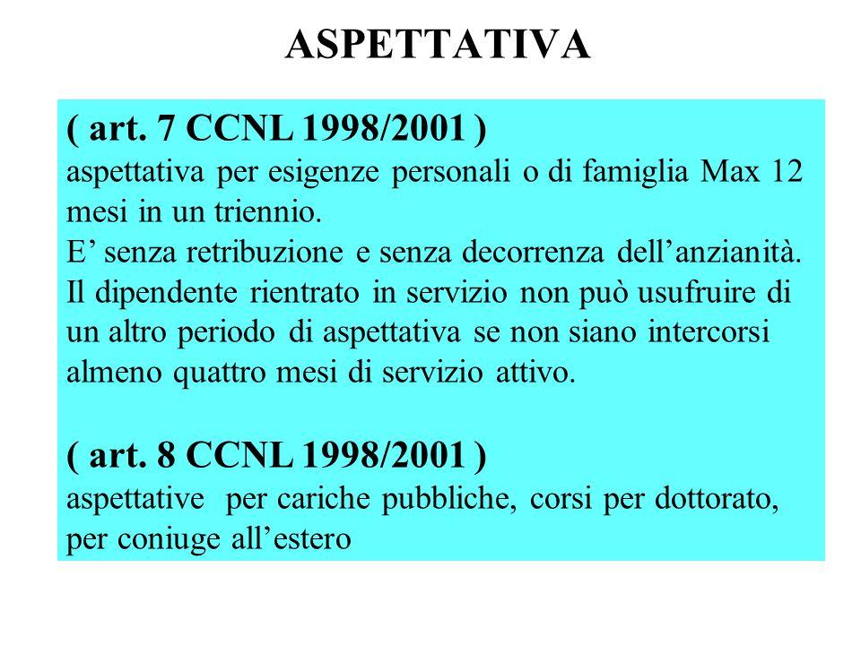 ASPETTATIVA ( art. 7 CCNL 1998/2001 ) ( art. 8 CCNL 1998/2001 )
