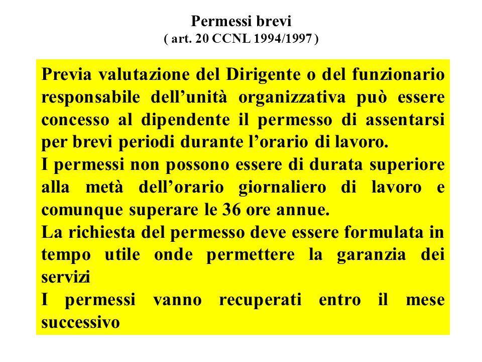 Permessi brevi ( art. 20 CCNL 1994/1997 )