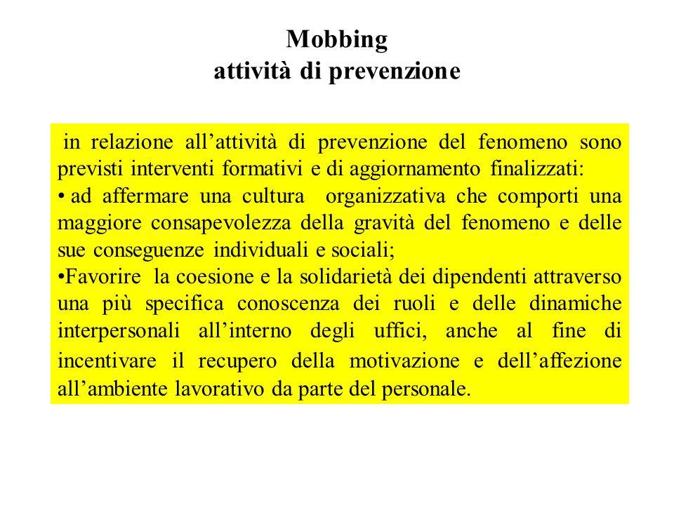 Mobbing attività di prevenzione