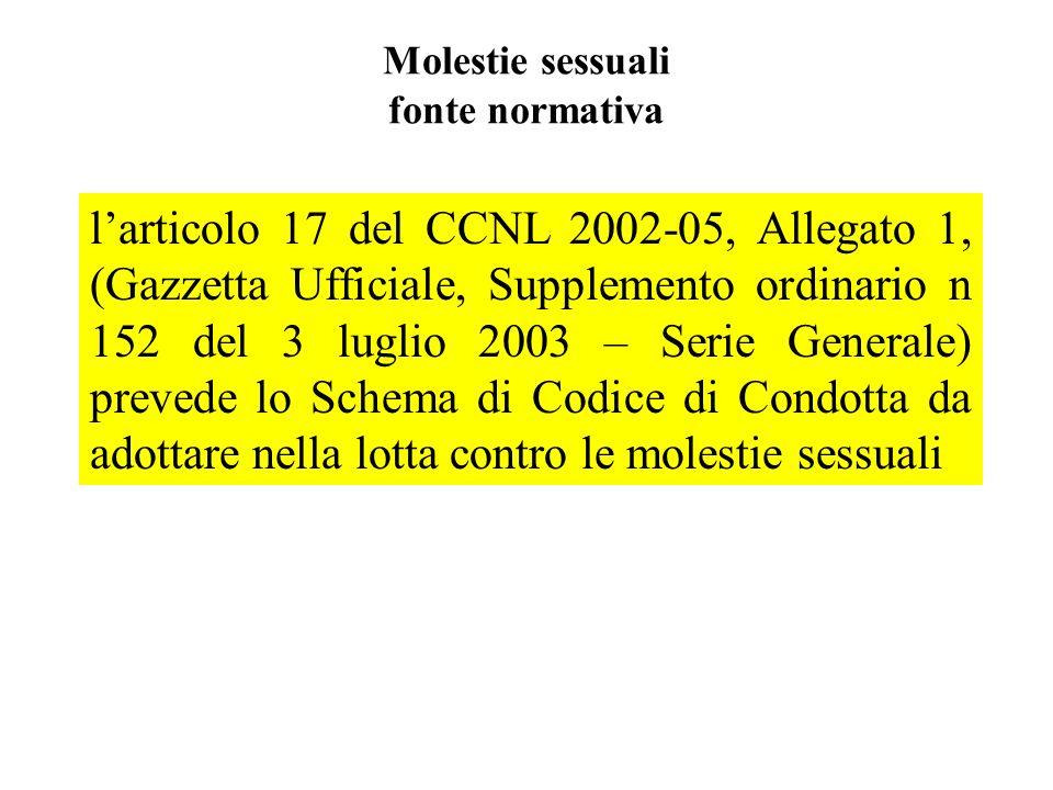 Molestie sessuali fonte normativa