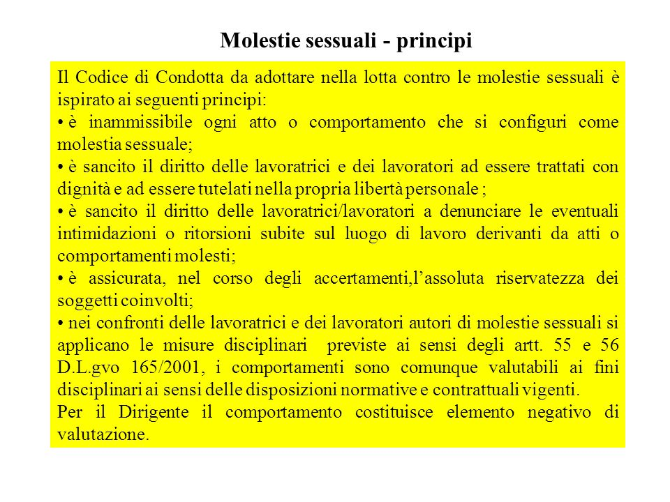 Molestie sessuali - principi
