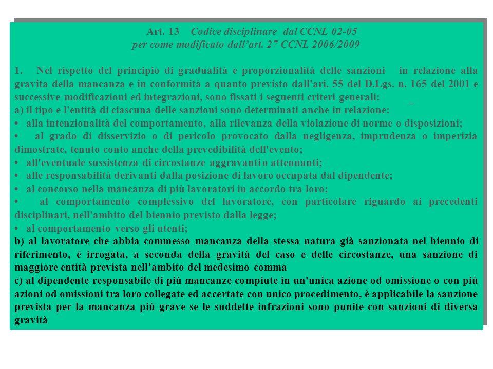 per come modificato dall'art. 27 CCNL 2006/2009