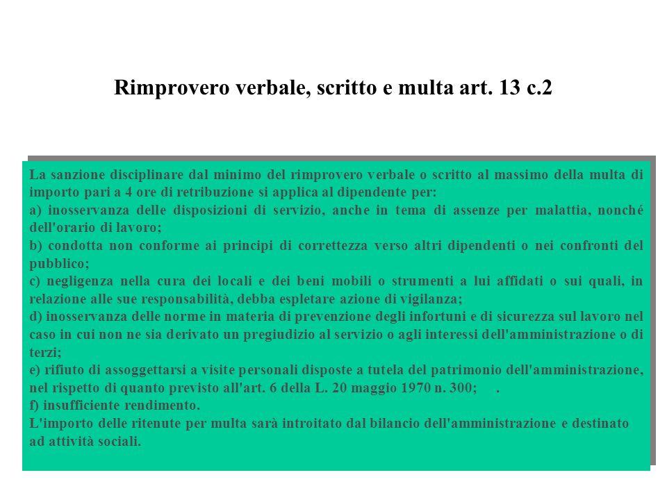 Rimprovero verbale, scritto e multa art. 13 c.2