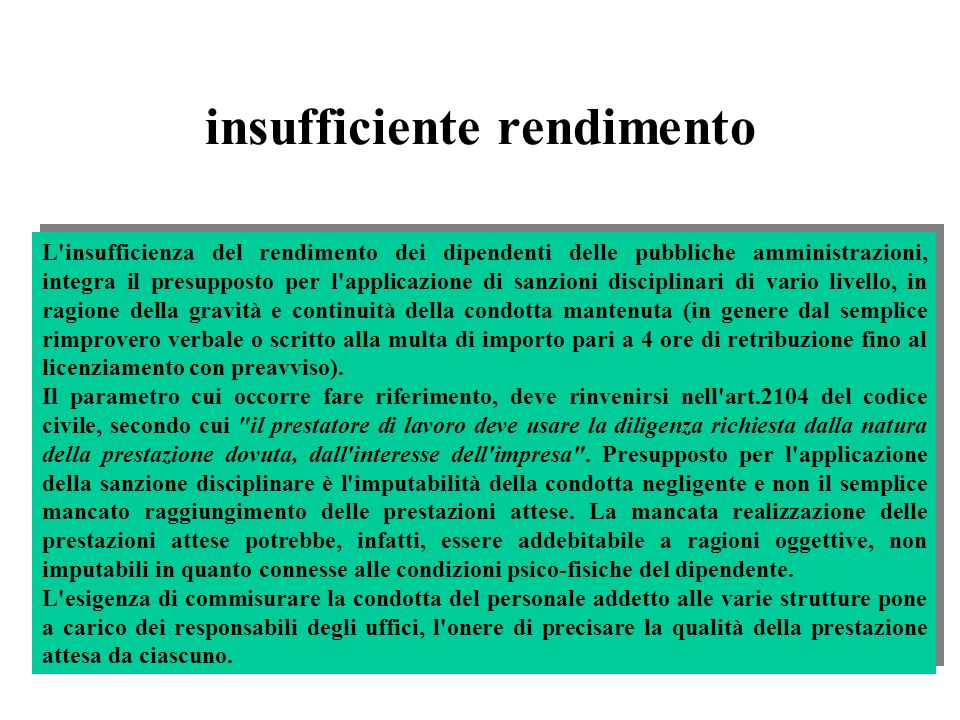 insufficiente rendimento