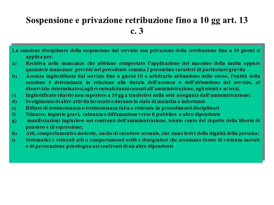 Sospensione e privazione retribuzione fino a 10 gg art. 13 c. 3