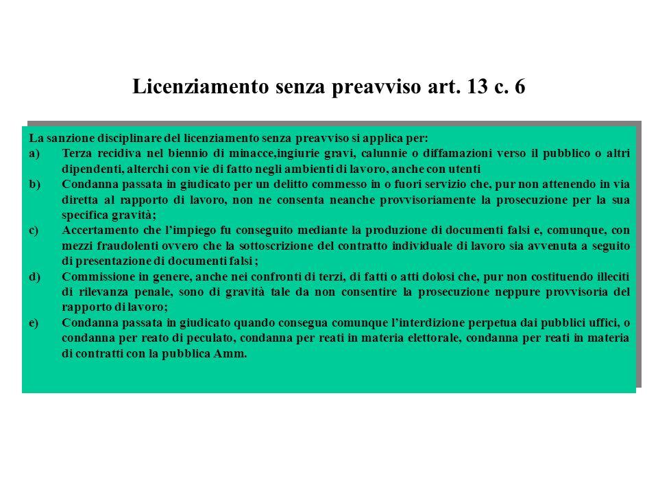 Licenziamento senza preavviso art. 13 c. 6