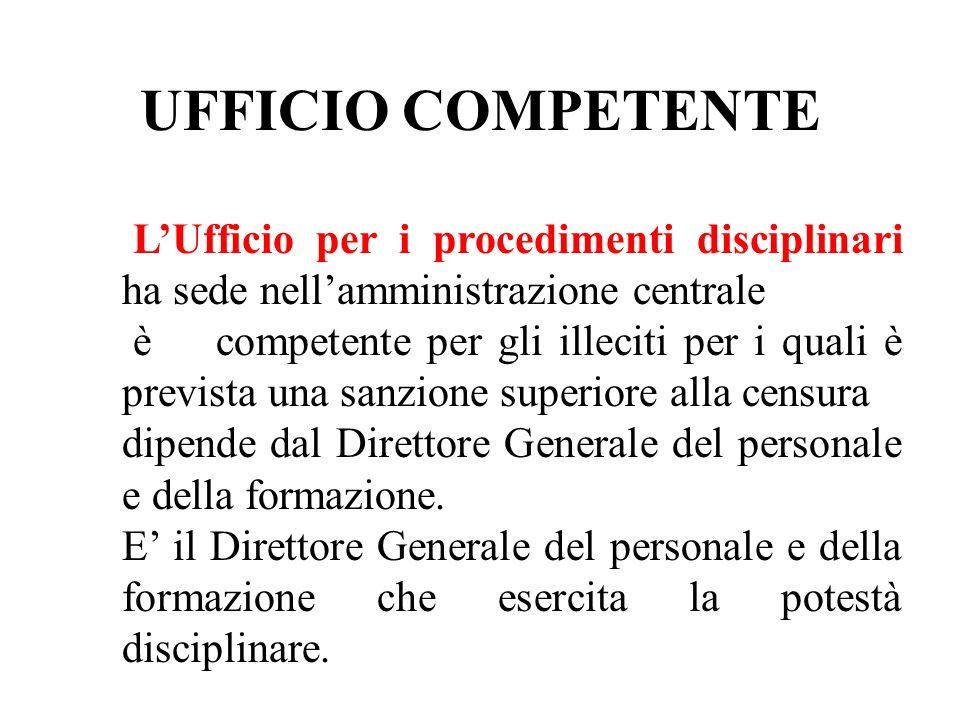 UFFICIO COMPETENTE L'Ufficio per i procedimenti disciplinari ha sede nell'amministrazione centrale.
