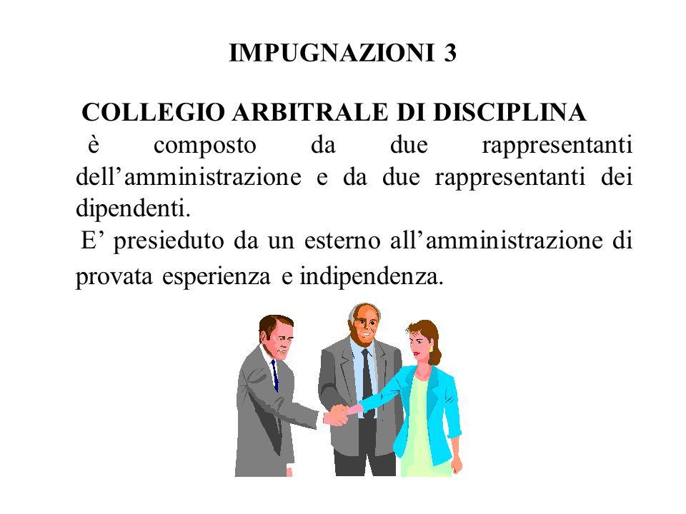 IMPUGNAZIONI 3 COLLEGIO ARBITRALE DI DISCIPLINA. è composto da due rappresentanti dell'amministrazione e da due rappresentanti dei dipendenti.