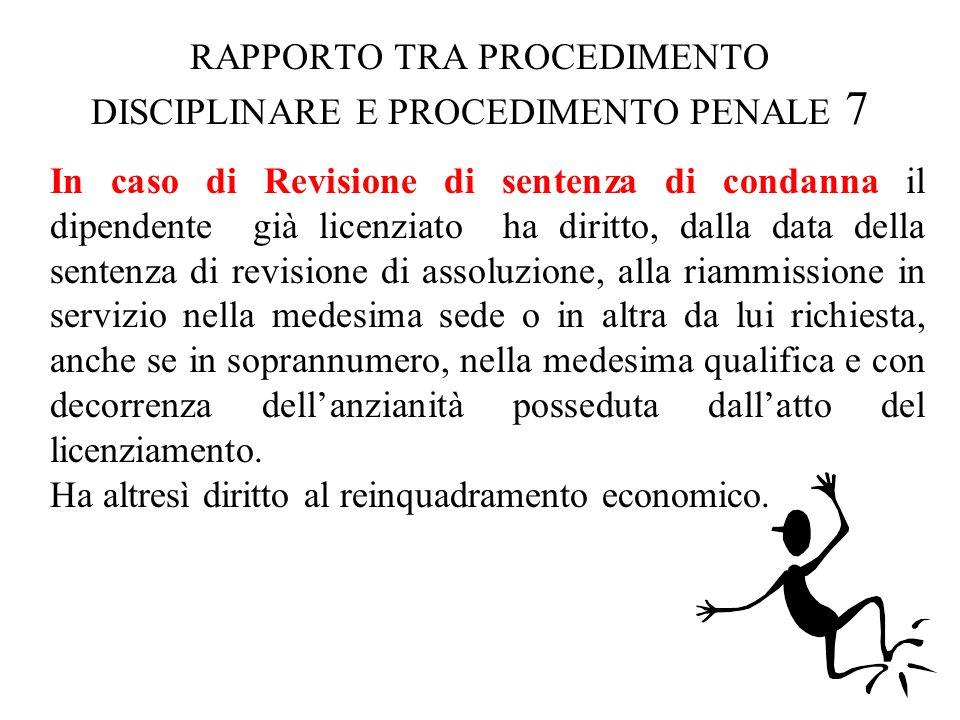 RAPPORTO TRA PROCEDIMENTO DISCIPLINARE E PROCEDIMENTO PENALE 7