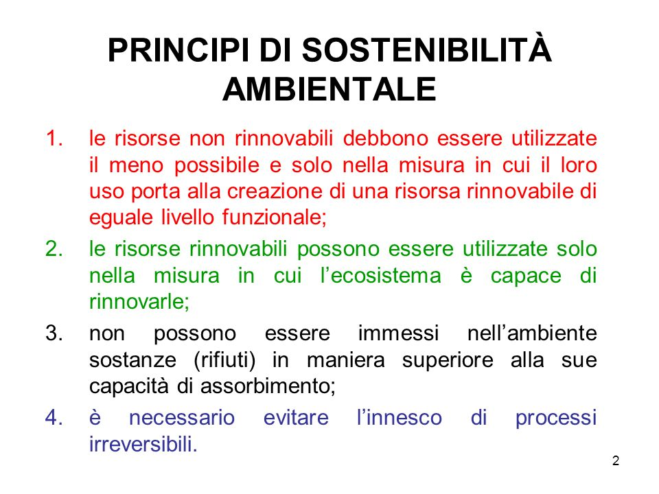 PRINCIPI DI SOSTENIBILITÀ AMBIENTALE