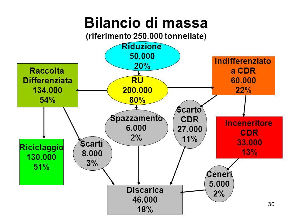 Bilancio di massa (riferimento 250.000 tonnellate)